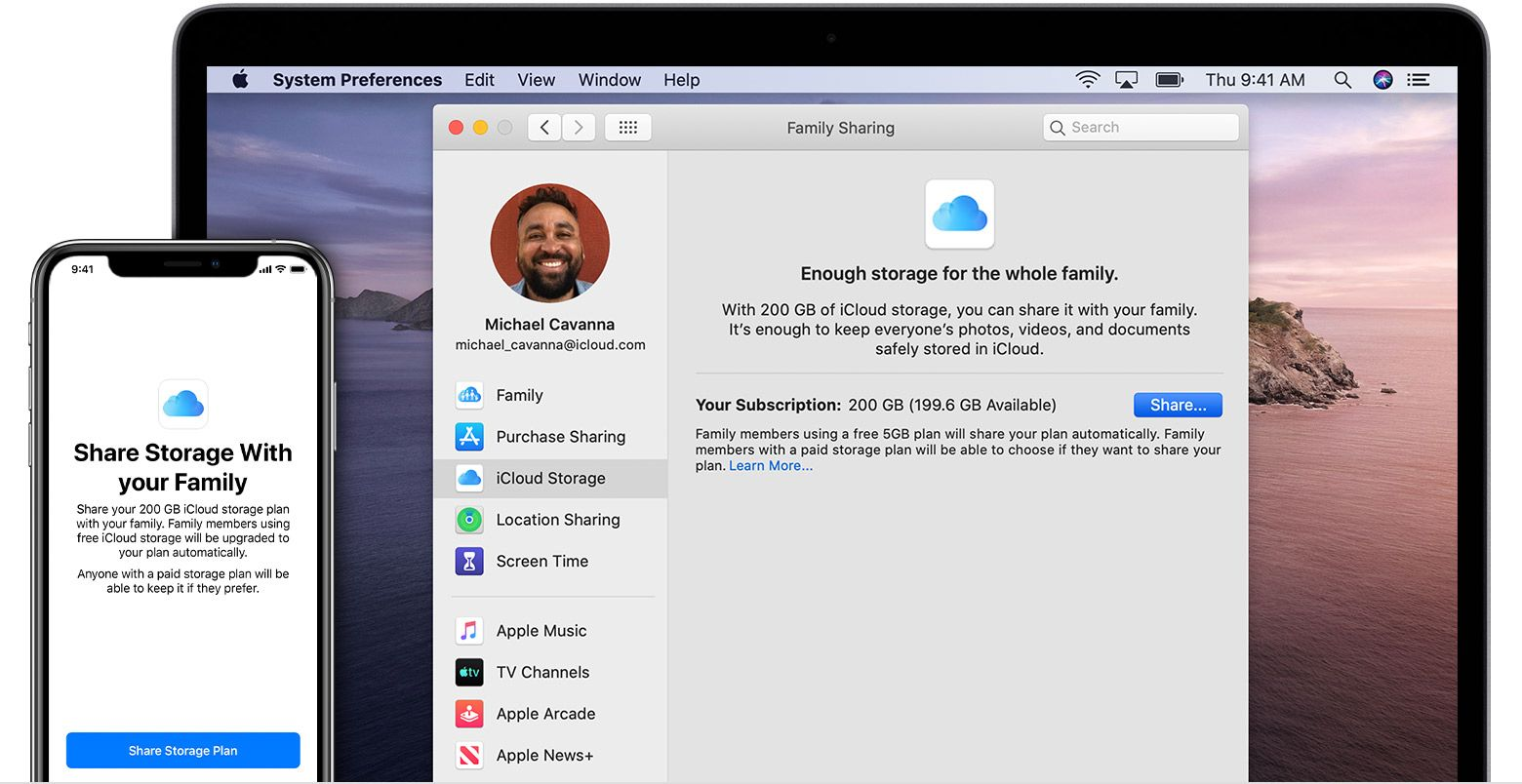 The flexibility of iCloud Family Storage Sharing